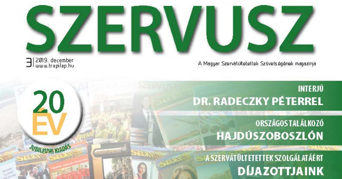 Megjelent a SZERVUSZ újság 2019-es harmadik száma